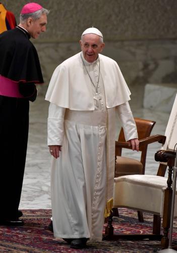 Le pape François au Vatican pour son audience hebdomadaire le 28 février 2018 AFP