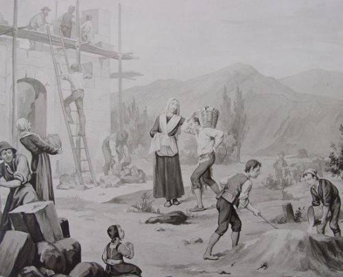 Benoîte pendant la construction de l'église